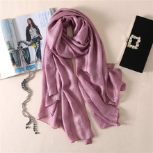 LARRIVED 2019 Solid Color Spring Summer Glitter silk Scarf TieSet Linen Scarves Cape Shawl Candy 100x190cm