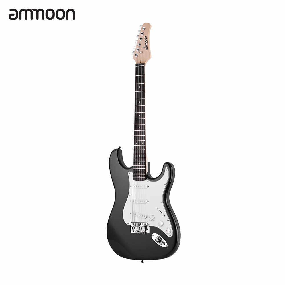 Ammoon エレキギター右手木製桐ボディメイプルネック 21 フレット 6 文字列スピーカーピッチパイプギターバッグ