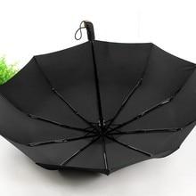 Männer Schwarz Drei Taschenschirm Regen Leder Griff 10 Rippe Starke Automatische Regenschirme Windabweisend Heißer Verkauf
