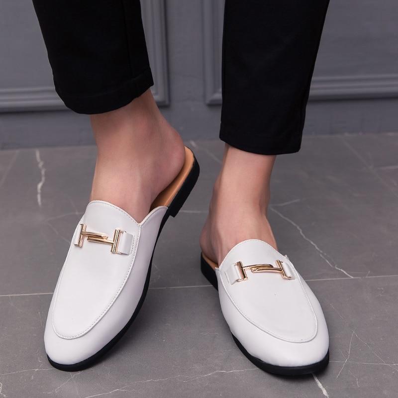Homens de luxo vestido chinelos sapatos de