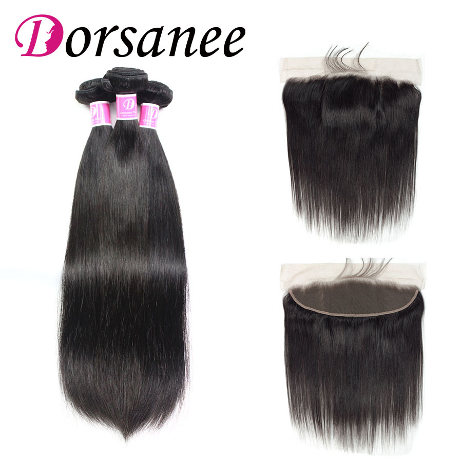 Dorsanee Peruvian Straight Hair Bundles With Lace Frontal Closure Natural Hairline Non Remy Human Hair Weave 8-26 inch Free Ship