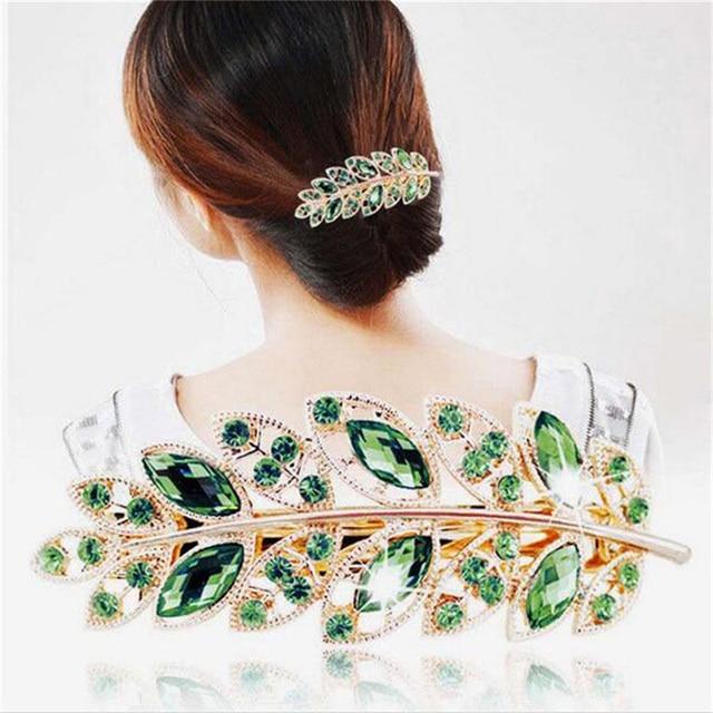 OPPOHERE 1 pc Beauty Women Hair Clip Leaf Crystal Rhinestone Barrette  Hairpin 9d8454733b24