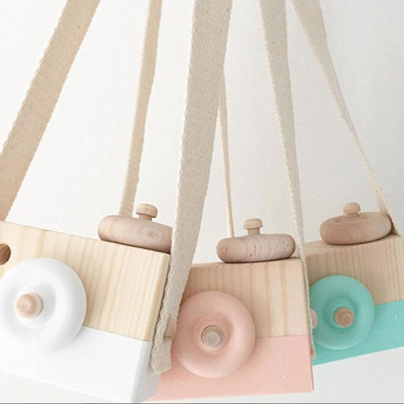Wooden Camera Cam Cameras Toy Children's Travel Home Decor Gifts For Kids White Green Pink Purple