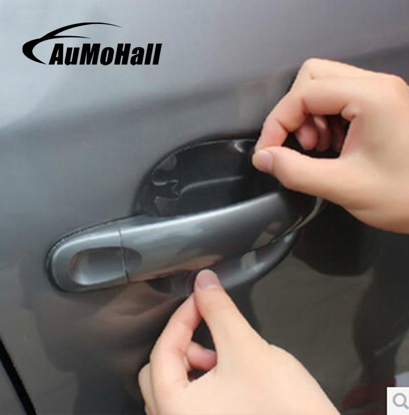 AuMoHall 4шт/лот ручки автомобиля защитная пленка Универсальный невидимый двери автомобиля ручка наклейки устойчивы царапин наклейки
