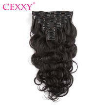 CEXXY Clip In Human Hair Extensions Body Wave 140G Remy Hair Natural Color 10 Pieces/Set 12-22 Inch