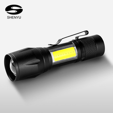 SHENYU Q5 COB LED Mini Rechargeable Flashlight XPE Torch USB Direct Charging 14500 Battery Lamp Pocket Zoomable Clip Penlight