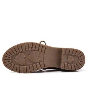 Image 3 - حذاء من الجلد الصناعي للنساء من JZZDDOWN حذاء أكسفورد للنساء برباط علوي حذاء بدون كعب خريفي فاخر للنساء