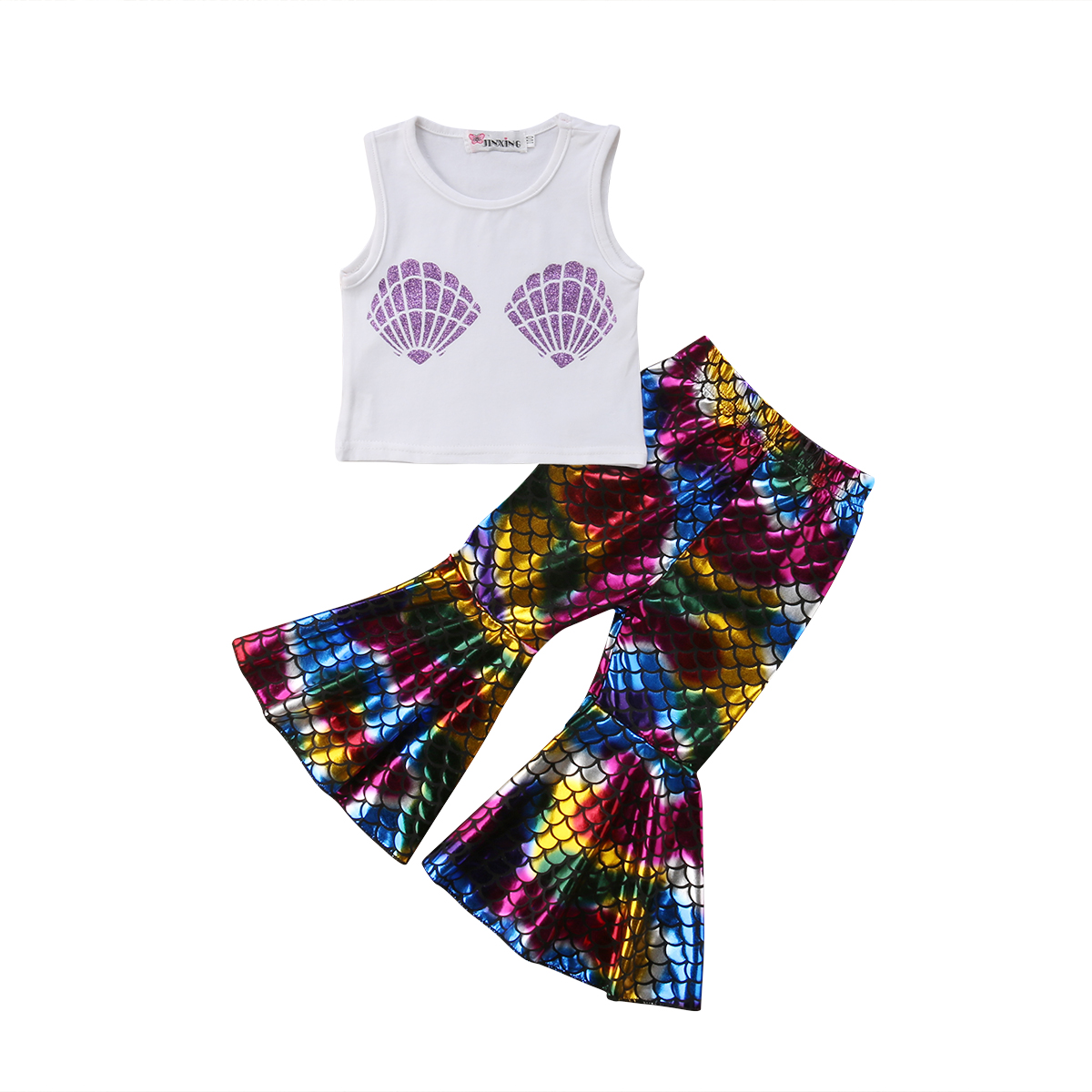 Fancy 2pcs Newborn Kid Baby Girls Shell Print Romper Flared Sleeve Jumpsuit+fish Scale Skirts Cute Summer Outfit Clothes Girls' Baby Clothing