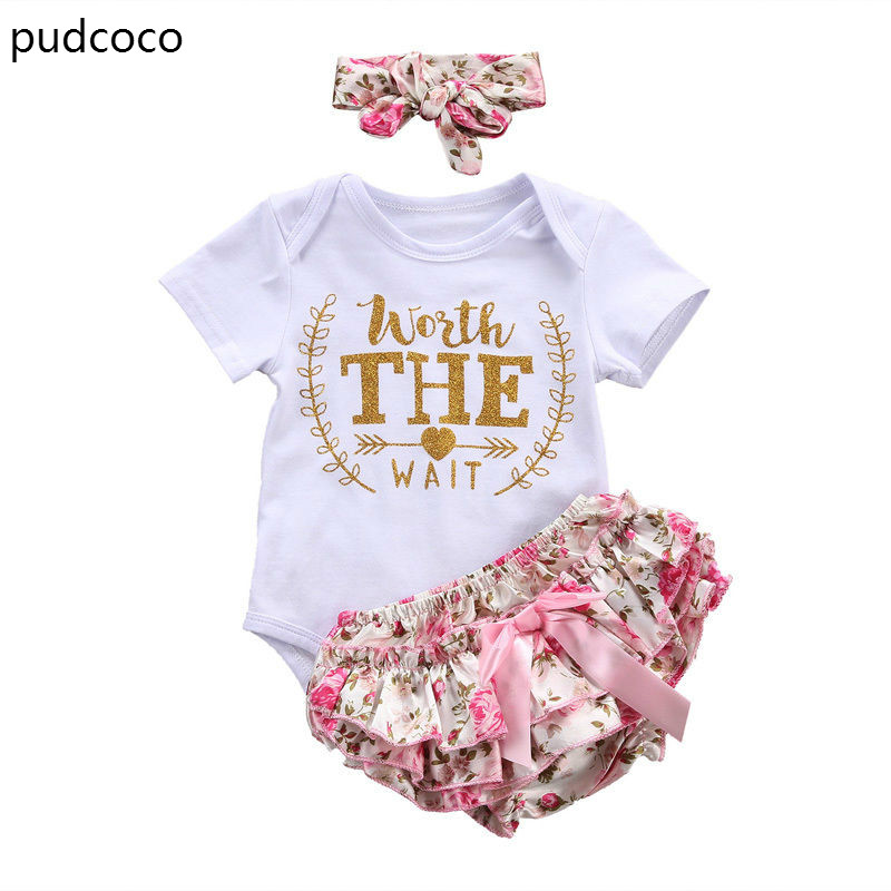 3pcs girls set Infant Baby Girl Cotton Short Sleeve letters Print Rompers Floral Bommer Shorts Headband Outfits Sunsuit Clothes