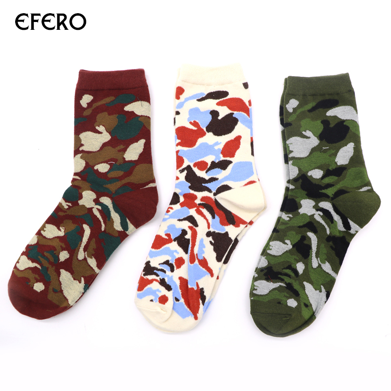 3 Pairs efero Man Camouflage Print Sock for Autumn Winter Socks Fashion Multicolor Short Socks Men Business Keep Warm Ankle Sock