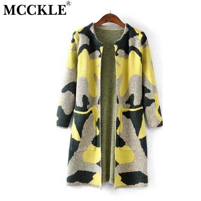 Mcckle das mulheres camisola de manga longa outono inverno moda de nova camuflagem longo de malha cardigan feminino das mulheres trincheira zy682