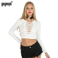 Gagaopt 2016 Women Top Tees V Neck Lace Up Longsleeve T Shirt Female Autumn Sexy Elegant