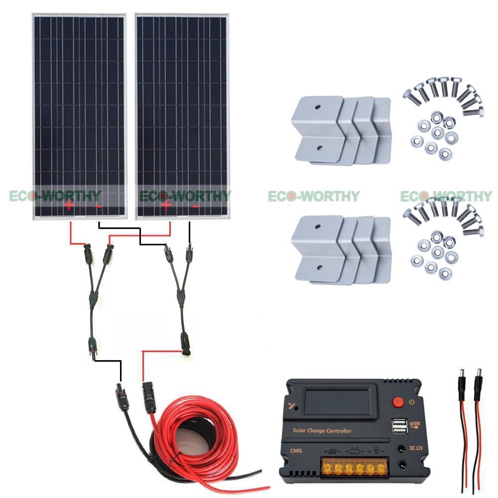 High Efficiency 2pcs 100W Solar Panel & 20A CMG Controller for Home Roof Car sitemap 140 xml