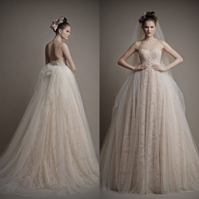 2015 Ball Gown Sweetheart Floor Length Train Tulle Lace Wedding Dresses Sleeveless Back Cut Out Dust Pink Princess Bridal