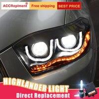 2 шт светодиодный фары для Toyota Highlander 2009 2012 светодиодный огни автомобиля глаза ангела xenon HID комплект протовотуманная подсветка дневного свет