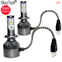 2Pcs Set Super Bright H7 Led Headlight Bulb Single Beam 80W 9000Lm 6000k CSP Led Light
