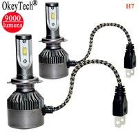 2Pcs Set Super Bright H7 Led Headlight Bulb Single Beam 80W 9000Lm 6000k CSP Led Light