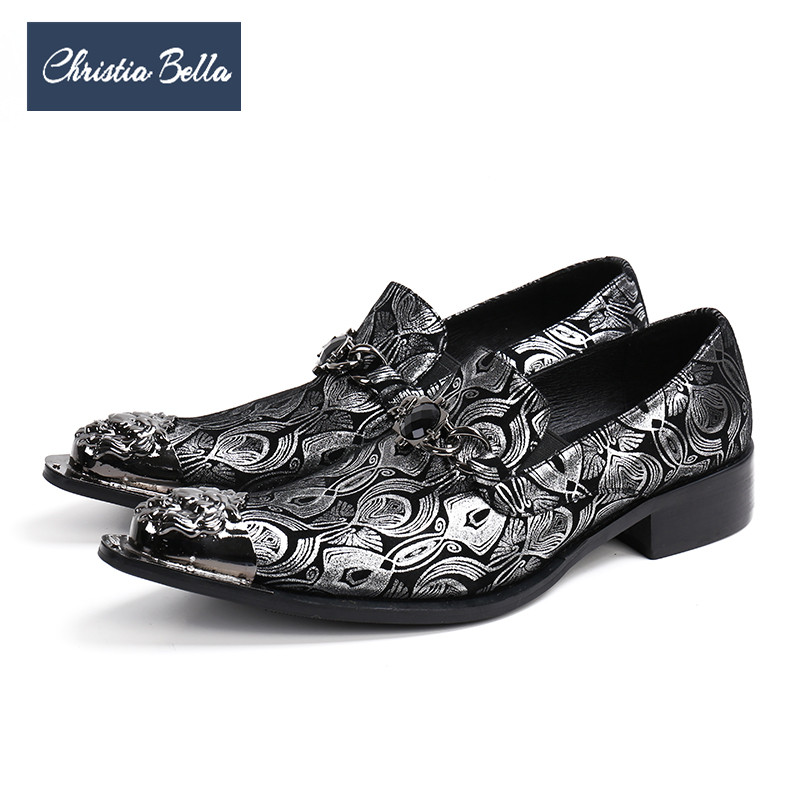 Formal Shoes 2019 Latest Design Christia Bella Designer Genuine Leather Men Shoes Silver Printing Business Shoes Metal Charm Wedding Men Dress Shoes Plus Size Shoes