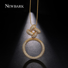 NEWBARK Luxurious Circle Necklace Long Box Chain High Quality Necklaces Pendants Square Loop Tiny Zirconia Women Jewelry