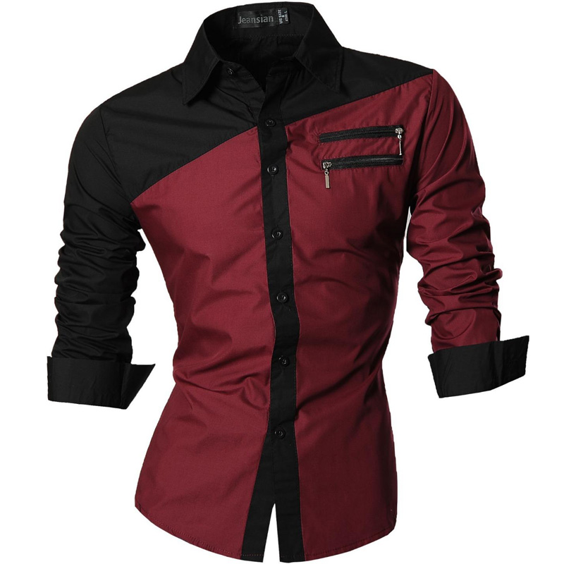 Jeansian Men's Casual Dress Shirts Fashion Desinger Stylish Long Sleeve Slim Fit Z015 WineRed