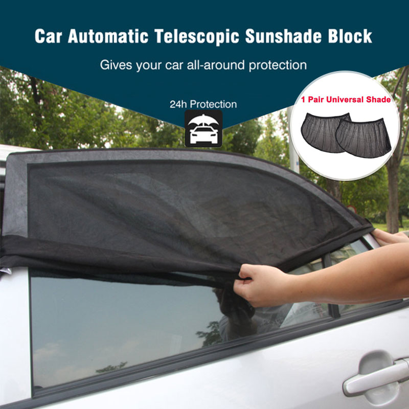 17 x 15 Cling Sunshade UV Rays Glare Protection for Baby with Storage Pouch Car Window Shade 4 Pack, Semi-Transparent Give Me Car Sun Shade for Side Window