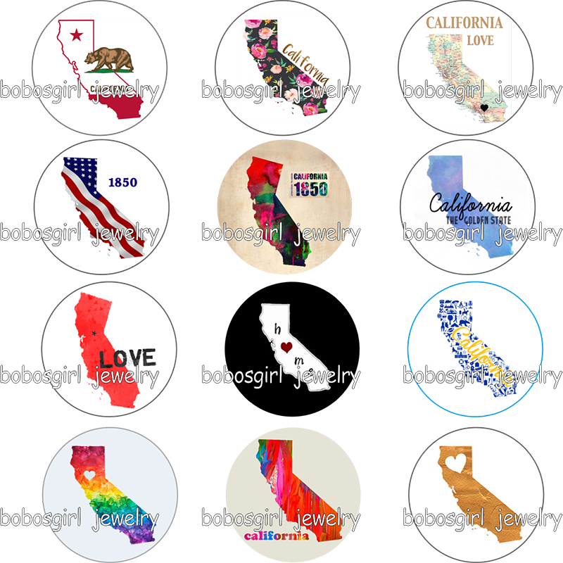 USA US states california home love glass Snap button Charm Popfor Snap Jewelry good quality picture pendant GS9773(China)