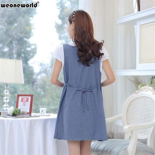 3aacbbced745 WEONEWORLD Fake 2 pieces Cotton Summer New Fashion Pregnant Dress Casual Pregnancy  Clothes For Pregnant Women