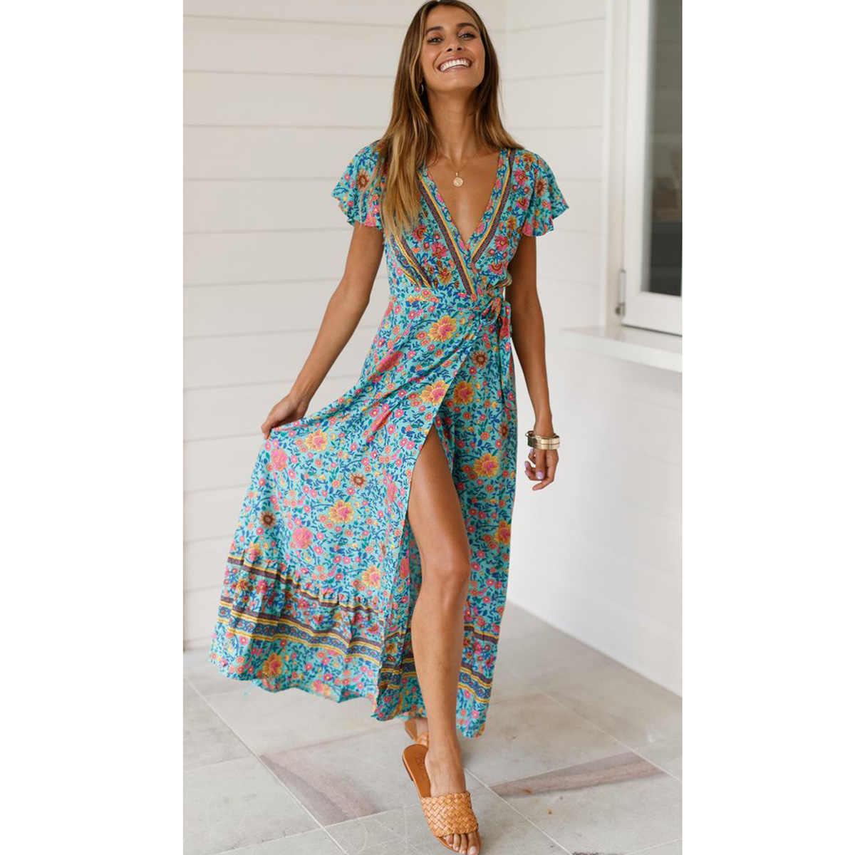 Jastie зеленое платье с цветочным принтом, с короткими рукавами-бабочками, Boho, летние платья с v-образным вырезом, женское макси платье, повседневное пляжное платье