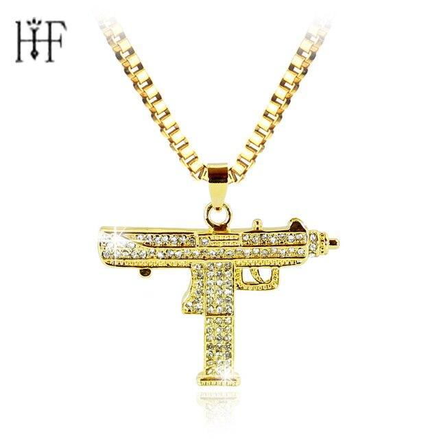 2a8e92be5432 20 unids hip hop arma COLLAR COLGANTE para hombres mujeres oro color CZ  diamantes CSGO colgante