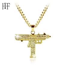 20pcs Hip Hop Gun Pendant Necklace For Men Women Gold Color Ice Out Cz Diamonds CSGO Charm Pendant Fine Quality Gold Cuban Chain