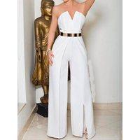 Sexy Backless Party Elegant Jumpsuit Women Summer Strapless White Wide Leg Pants High Waist Split Fashion Formal Long Jumpsuits