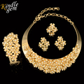 Brand Jewelry Design Trendy   Dubai Gold Plated Jewelry Set Elegant Costume Choker Necklace Set Nigerian Wedding African Bead