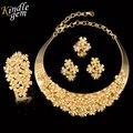Marca de jóias de design de moda dubai jóias de ouro chapeado set traje elegante choker colar set casamento nigeriano africano talão
