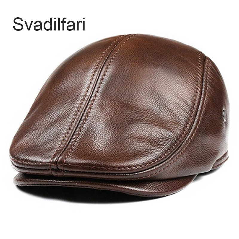 Svadilfari Classic Beret Caps Men Warm Genuine Leather Caps Ivy Windproof Duckbill Hat Burgundy Winter Luxury Brand Flat Hats