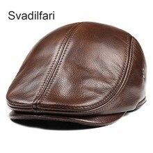 Svadilfari Classic Beret Caps Men Warm Genuine Leather Caps Ivy Windproof Duckbill Hat Burgundy Winter Luxury Brand Flat Hats