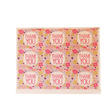 900pcs/Lot Kawaii Pink Flowers Thank you Handmade Sticker Label DIY For Gift Cake Baking Scrapbooking Sealing