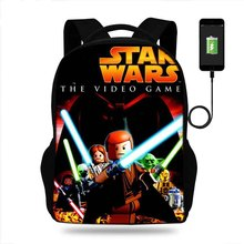 Купить с кэшбэком Buleflyer Lego Star Wars The Video Game school bag orthopedic backpacks kids Bookbag for boys teenager students USB mochila