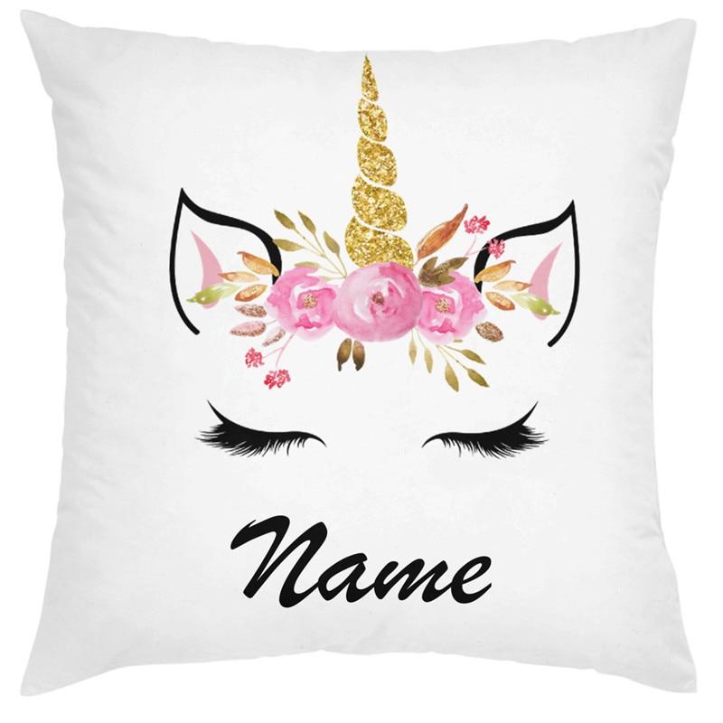 Personalised unicorn cushion Face Girls Birthday Christmas Bedroom Gift