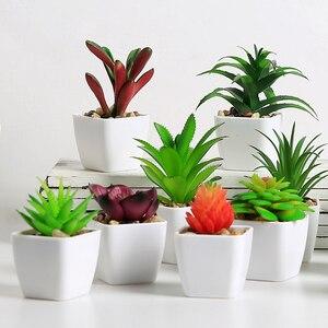 Image 2 - Erxiaobao 14 Pieces/Set Simulation Succulents Mini Bonsai Potted Artificial Plants with Pot Placed Green Plants Decoration