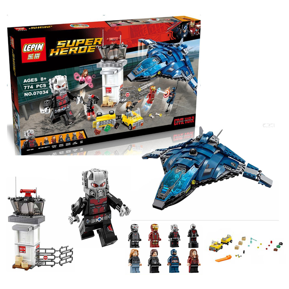 07034 Avengers Super Hero Airport Battle Model Building Kit Minifigure Ant-Man Iron Man Blocks Toy Compatible with Lego