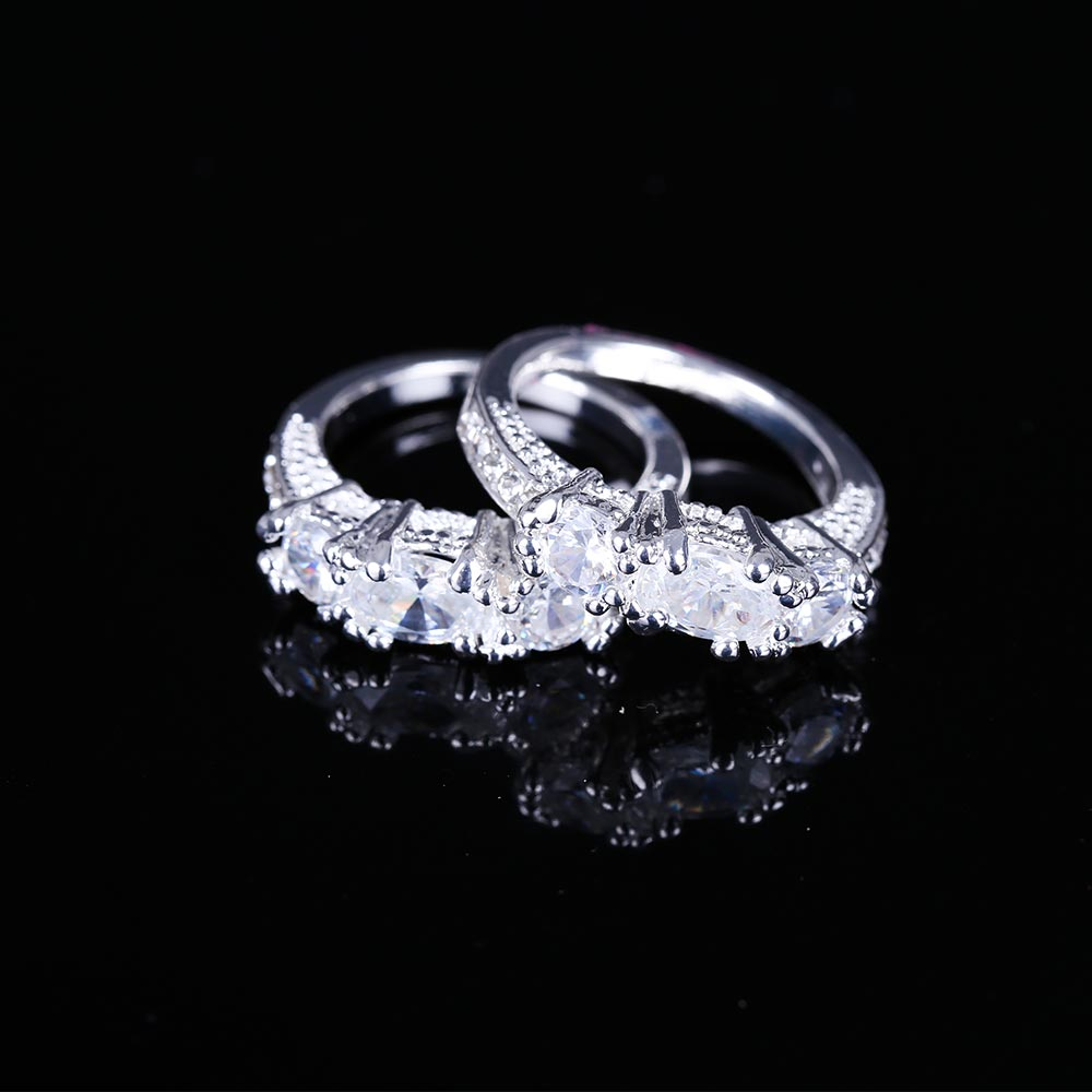 Tomtosh 2017 New Exquisite Women Silver Plated Clear Zircon Wedding Ring Engagement Ring Fashion Statement Jewelry