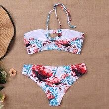 Купить с кэшбэком Tube Top Cut Out Bathing Women Swimsuit Print Sexy Bikinis Mid Waist 2019 Summer Suits Push Up Bikini Swimwear Beach Wear Bikini