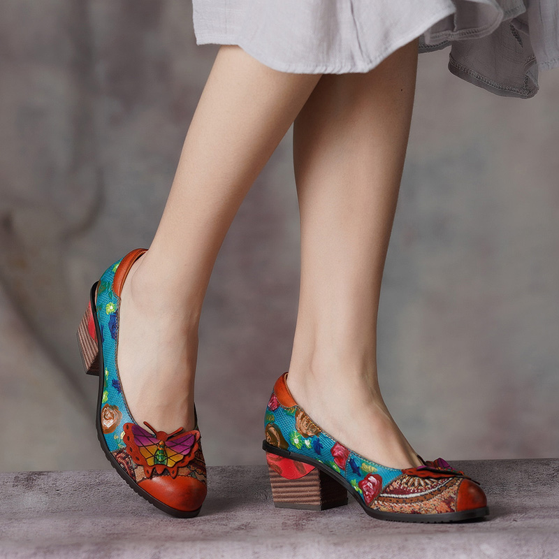 High Heel Shoes Woman Mixed Color Butterfly Natural Leather Ethnic Style Retro Hand Painted Female Shoes