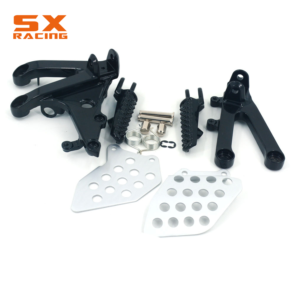 Motorcycle Silver Black Street Bike Front Foot Pegs Pedal Footrest For HONDA CBR600RR CBR 600RR 2007 2008 2009 2010 11 12 13 14