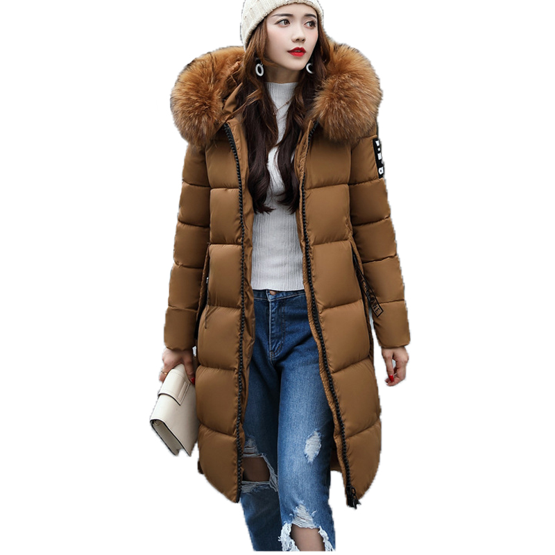 New 2017 Women Winter Coats And Jackets Casaco Plus Size Medium-long Hooded Faux Fur Collar Long Sleeved Parkas Feminino cool men watch double time stopwatch luminous timing ring alarm 12 24 hour men wrist watch clock relogio masculino watch