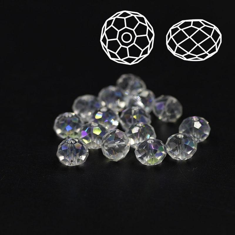 Gratis verzending Rondelle Bead 2 3 4 6 8mm Facet Crystal AB Plating - Mode-sieraden - Foto 4