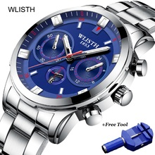reloj hombre WLISTH Quartz Wristwatch Top Brand Luxury Mens Watches Business Watch Men Luminous Stainless Steel Wrist Watch sinobi creative mens watches top brand luxury stainless steel quartz watch men clock reloj hombre 2018 male wrist watch 6139