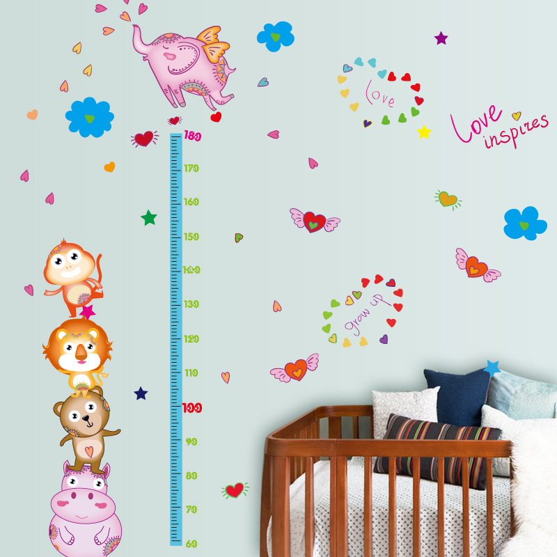Cartoon flying elephant animal stack wall sticker child height measurement grow chart minimalist children room decoration mura ...
