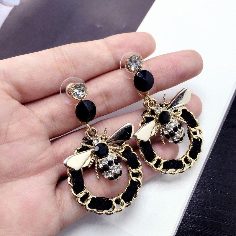 Luxury Brand Coloful Crystal Cute Bee Earrings For Women Geometric Statement Weave Long Drop Earrings Jewelry