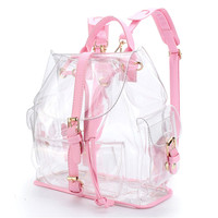 2018 New Female Backpack Women's Clear Plastic See Through Security Transparent Backpack Bag Travel Bag Sac A Dos Femme A0714